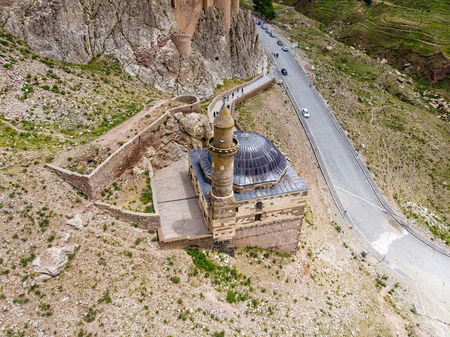Aerial view of Eski Bayezid Cami, mosque located near Ishak Pasha Palace, Dogubayazit district. Turkey, Asia. The castle and mosque of Old Beyazit