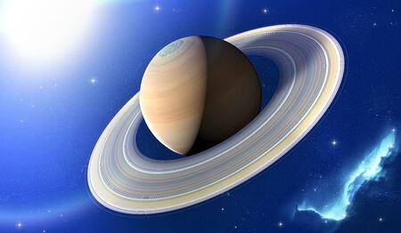 Vista del planeta Saturno con anillos. Sonda Cassini en exploración alrededor del planeta. Sistema solar. Render 3D.