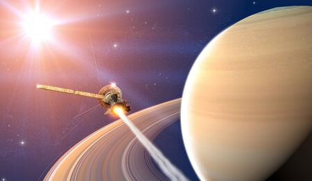 View of the planet Saturn with rings. Cassini probe in exploration around the planet. Solar system. 3d render.