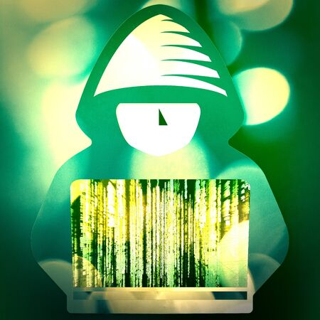 Hacker with computer. Hooded boy with laptop. Hacking connection. Steal information and spread it online