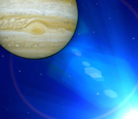 View of Jupiter. It is the largest planet in our solar system. 3d render