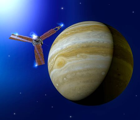 View of Jupiter and Juno, space probe orbiting the planet. It is the largest planet in our solar system. 3d render
