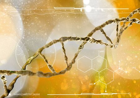 DNA helix, Deoxyribonucleic acid is a thread-like chain of nucleotides carrying genetic instructions. 3d render. HUD, head up display