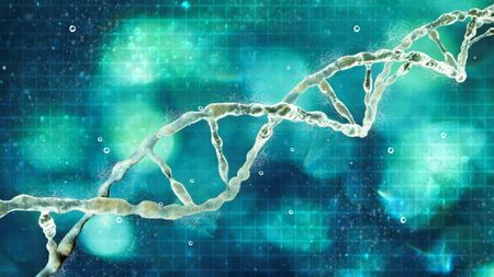 DNA, Deoxyribonucleic acid is a thread-like chain of nucleotides carrying the genetic instructions used in the growth, development and functioning of the known living organisms and many viruses. DNA helix Stockfoto