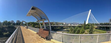 Panoramic view of the Millennium Brigde, from a project by Santiago Calatrava, seen from the Moscow Bridge. Modern architecture of the capital of Montenegro. Podgorica