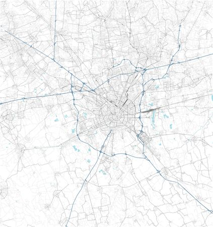 Satellite map of Milan and surrounding areas. Lombardy, Italy. Map roads, ring roads and highways, rivers, railway lines Stock fotó
