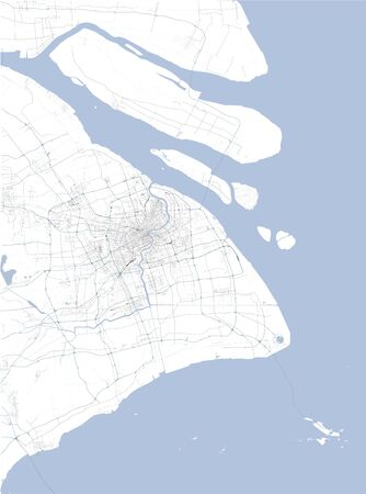 Satellite map of Shanghai and surrounding areas, Peoples Republic of China, Yangtze River Delta. Map roads, ring roads and highways, rivers, railway lines. Transportation map