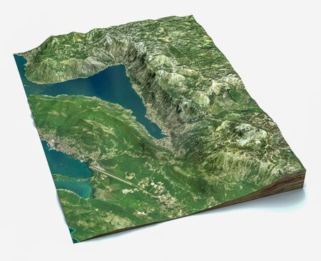 Satellite view of the largest fjord in the Mediterranean. The Bay of Kotor, Boka. It is surrounded by the Dinaric Alps: the Orjen and the Lovcen mountains. 3d render. Section of the fjord. map