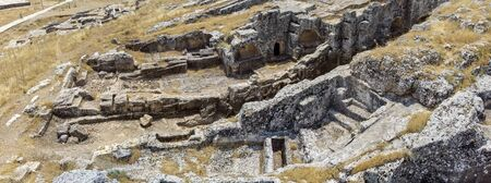 Aerial view of Pirin Ruins. Perre antik kenti, a small town of Commagene Small town and necropolis. 07032019. Adiyaman. turkey Stock Photo