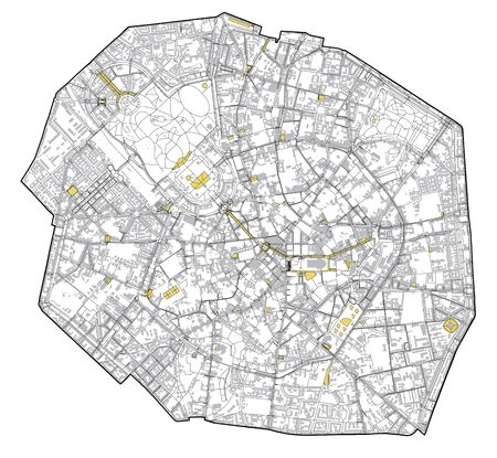 Satellite map of Milan, streets and building of area number 1, municipalities number one. Lombardy. italy