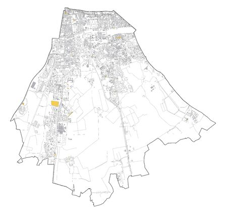 Satellite map of Milan, streets and building of area number 5, municipalities number five. Lombardy. italy Ilustração