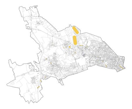 Satellite map of Milan, streets and building of area number 7, municipalities number seven. Lombardy. italy