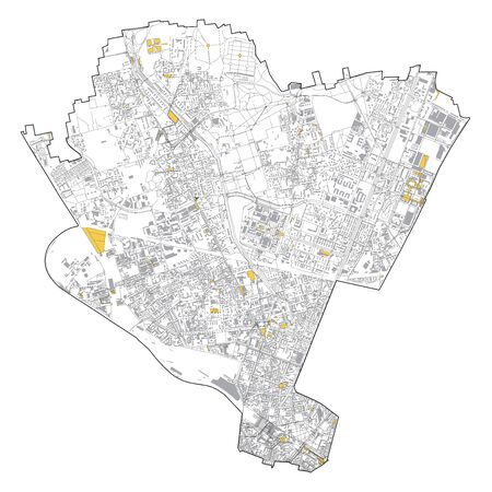 Satellite map of Milan, streets and building of area number 9, municipalities number nine. Lombardy. italy