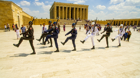 Changing of the guard at the mausoleum of Mustafa Kemal Ataturk, (first Turkish president) in the capital Ankara. 06282019. turkey