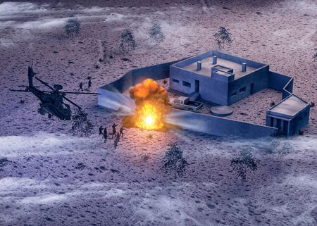 Raid on Al-Baghdadi compound in Barisha, Syria. 3d render. Secret mission, attack that struck the Caliph stronghold of the Islamic state. Mission of the American special forces