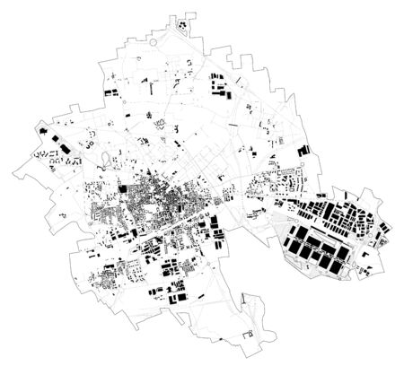Satellite view of the city of Rho, map and streets. Lombardy, Milan, Italy. Rho Fiera Milano, expo. Fair. Vector Illustration