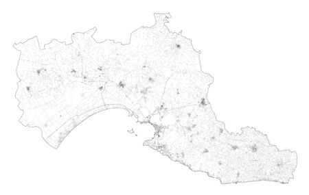 Satellite view of the Taranto province, map and streets. Puglia, Italy. Map of transports in the Puglia region, Italy. Ilva Ilustrace