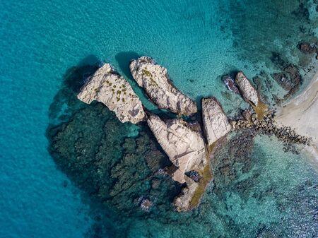 Aerial view of the Riaci rocks, Riaci beach near Tropea, Calabria. Italy. Transparent sea and wild coast. Фото со стока