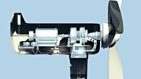 Wind turbine, how it works, section, side view. Climate change and clean energy. 3d render 版權商用圖片