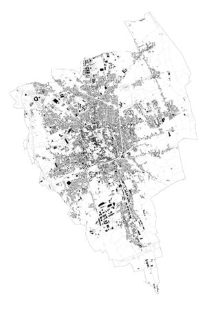 Satellite map Udine, towns and roads, buildings and connecting roads of surrounding areas. Friuli-Venezia Giulia, Italy. Map roads, ring roads
