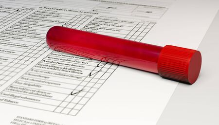 Blood collection and analysis, test tube with blood. Viruses and diseases, HIV, AIDS, 3d render