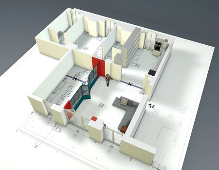 Architectural redesign of an apartment interior. Project variation. Functional and modern spaces. 3d render
