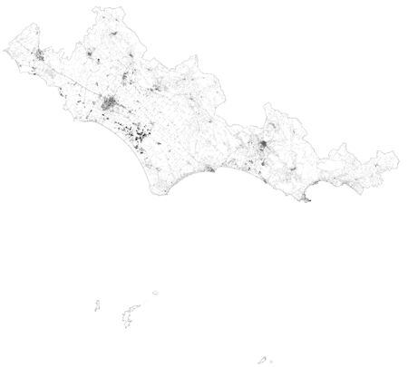 Satellite map of Province of Latina towns and roads, buildings and connecting roads of surrounding areas. Lazio region, Italy. Map roads, ring roads Ilustração