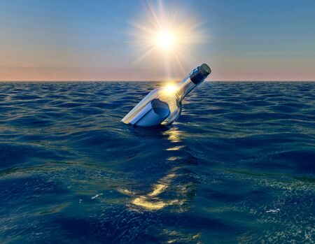Message in the bottle, bottle floating in the ocean at sunset, 3d render