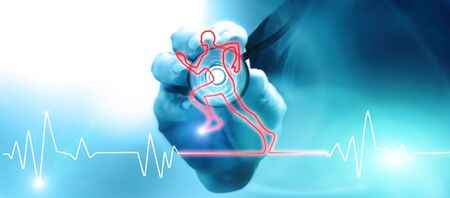 Doctor with stethoscope listening to the heart beat. Heart beat in the shape of a running athlete. Medical examination of fitness for physical and motor activity. 3d render