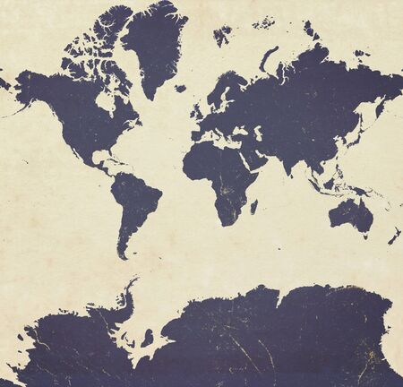 Planisphere of the world ultra defined with Antarctica, paper effect and peeling plaster.