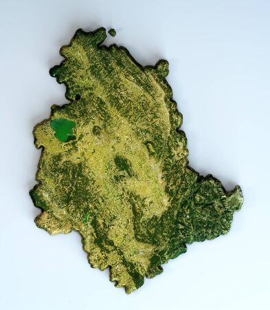 Satellite view of the Umbria region. Italy. 3d render. Physical map of Umbria, plains, mountains, lakes, mountain range of the Apennines Standard-Bild