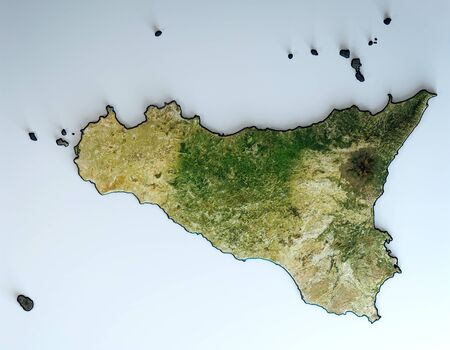 Satellite view of the Sicily region. Italy. 3d render. Physical map of Sicily, plains, mountains, lakes, mountain range