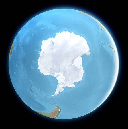 South Pole map. Antarctica, ice, melting, climate change. Climate emergency. Scientific expedition. Satellite view of the globe. 3d render.