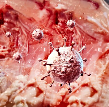 Microscopic view of Coronavirus, a pathogen that attacks the respiratory tract. Covid-19. Analysis and test, experimentation. Viral infection. Propagation of the virus in the human body. 3d render