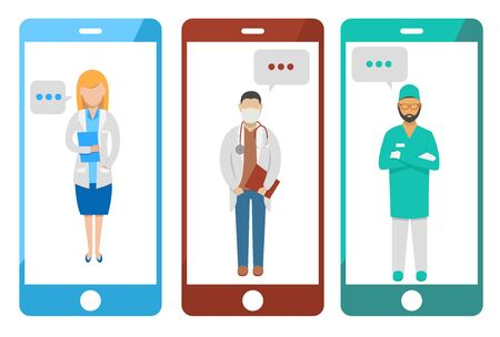 Health, doctor and patient relationship. Technology and applications. Reservations for exams, serological tests and swabs via mobile phone. Messages and chat. Coronavirus and social distancing. COVID-19