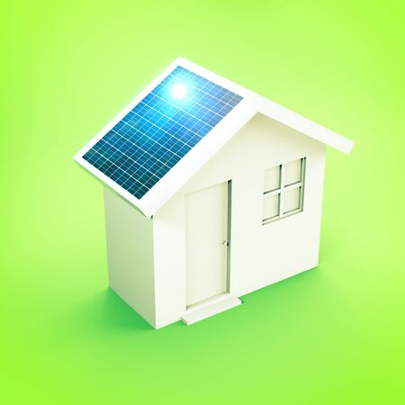 House with solar panels, real estate market, incentives to purchase properties with energy class A +. House prices, eco-sustainable properties. Global warming. 3d render