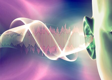 Hearing problems and solutions. Ultrasound. Deafness. Advancing age and hearing loss. Soundwave and equalizer bars with human ear. 3d render. Sense of hearing, sound and music graphic concepts