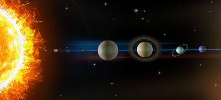 Planets of the solar system, sun, Mercury, Venus, Earth, Moon, Mars, Jupiter, Saturn, Uranus, Neptune. Asteroids belt.