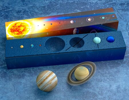 Solar system, box with models of the planets. Mercury, Venus, Earth, Mars, Jupiter, Saturn, Uranus, Neptune. Collectible models. Gift box, concept. Packaging design. Ideation and creation. 3d render Reklamní fotografie