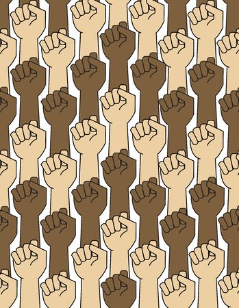 Black Lives Matter, protests against police brutality and racism. Raised fist hand. Pattern, texture. Symbol of black rights activists. Racism Иллюстрация