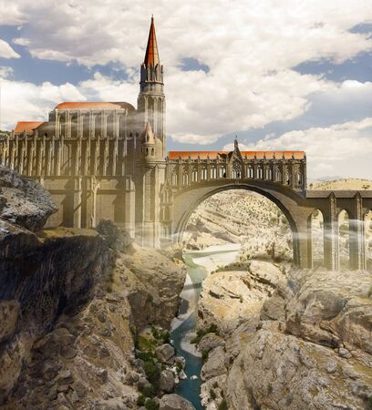 Medieval fantasy world, cathedral and bridge over a cliff. Valley with river. Gothic fortress. Castle. Aerial view. Great empires and conquests. Sci-fi. Architecture and structures. 3d render