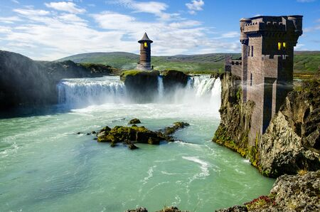 Medieval fantasy world, castle and waterfall on a cliff. Valley with river. Fortress. Knights and world in the Middle Ages. Great empires and conquests. Architecture and structures. 3d render