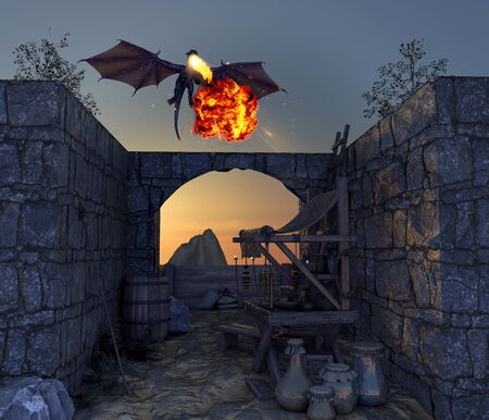 Dragon and medieval outpost, flying dragon that spits fire. Abandoned village. Middle ages and fantasy world. Legends and myths. 3d render Stock Photo