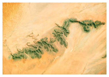 Satellite view of Namibia desert, landscape and mountains. Nature and aerial view. Global warming and climate change.