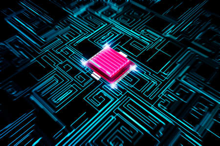 Microchip, power and speed. Presentation of the new microchip. Processor of a computer. Printed circuits. Information, quantum computer. Artificial intelligence, CPU. 3d render