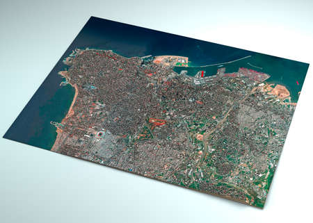 Satellite view of the city of Beirut in Lebanon. Streets and buildings. Place of the explosion in the port area.   3d render Stockfoto