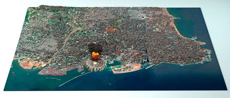 Satellite view of the city of Beirut in Lebanon. Streets and bui  3d render
