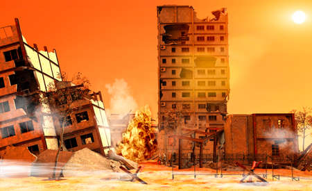 Debris, war zone with soldiers, buildings, bombings, terrorism. Military in combat actions. City in the middle east completely destroyed by war. Clashes between factions, 3d render