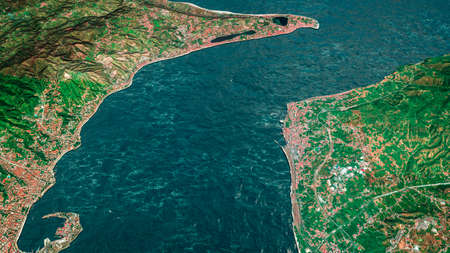 Strait of Messina, satellite view of the Strait. Sicilian and Calabra coast. Messina and Reggio Calabria. Bridge project to connect the two regions. 3d render