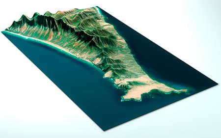 Aerial, satellite view of Fuerteventura, Canary Islands, Spain. Cofete Beach, South of the island. Punta Jandia. Playa de los Ojos. Morro Jable. 3d render. Reklamní fotografie